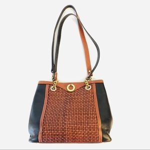 BALLY Woven Leather Cross Body Shoulder Bag Purse